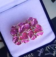 """Серьги """"Джесика"""" позолоченные, цвет розовый с кристаллами."""