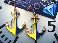 "Серьги ""Якорь"" Украина прапор, жовто-блакитні"