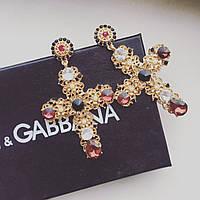 Серьги женские Dolce крест золотые, вечерние сережки