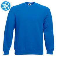 Утепленная мужская толстовка (реглан) синего цвета