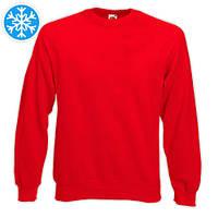 Утепленная мужская толстовка (реглан) красного цвета