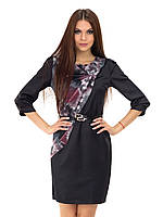 Нарядное черное атласное женское платье с поясом
