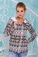 Женская зимняя кофта с начесом, белая с цветным орнаментом