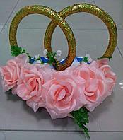 """Свадебные кольца для авто """"Розы"""" (персиково-розовые)"""