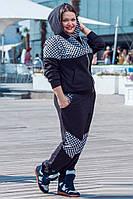 Спортивный женский  костюм  трикотажный, черный с цветной вставкой .Арт-1422