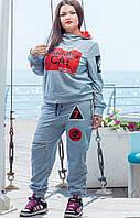 Спортивный женский  костюм  CAT серый, батал, р.50-56 .Арт-1425
