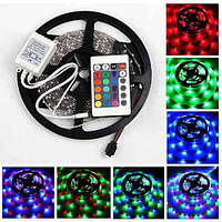 КОМПЛЕКТ Светодиодная LED лента 3528 RGB Все цвета 12V цветная 5м + пульт + блок