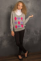 "Джемпер-обманка серый для девочки  ""Флэш"", 8-12 лет, арт 1355."
