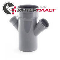 Крестовина канализационная Интерпласт 110 мм угол наклона 45° отводы 50 мм