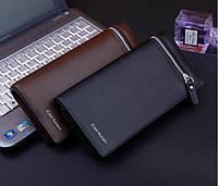 Кожаный мужской кошелек Cari Kaien + Подарок Нож-кредитка. Мужской клатч. Барсетка. Портмоне. Бумажник.