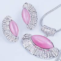 Комплект серьги и кулон Веер розовый