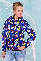 Молодежная осенне-весенняя куртка короткая с Микки Маусами