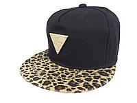 Черная кепка Hater с леопардовым козырьком