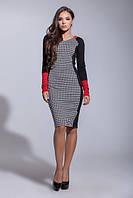 Женское стильное платье в гусиную лапку