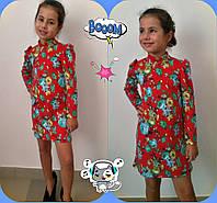 Детское трикотажное платье мини в цветочек / красное
