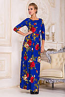 """Женское платье в пол (макси) с цветочным принтом """"розы"""", синее"""