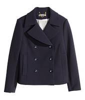 Темно-синее короткое пальто H&M