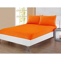 Простынь махровая на резинке с наволочками Varol - Cotton Castltle оранжевая 160*200
