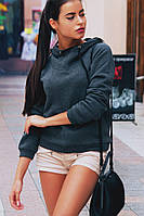 Модная женская серая толстовка с капюшоном