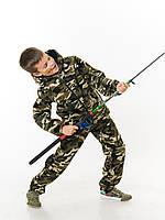 Костюм детский Лесоход для мальчиков хаки камуфляж Вельвет на флисе от 4 до 12 лет
