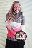 Трёхцветный женский свитер, капучино+белый+коралл