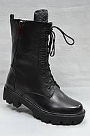 Черные кожаные ботиночки  Berloni  на толстой подошве  со  шнурками и молнией.