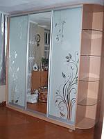 Шкафы купе с рисунком и стеклянными полками