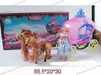 Карета для Золушки с лошадками и куклой, 59386