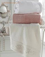 Полотенце гидрохлопок с вышивкой и стразами, Eke Home MELISS  30х50,