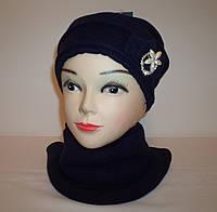 """Комплект женский """"Брошка"""" (шапка и шарфик)"""