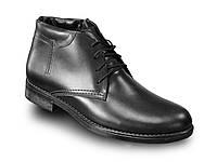 Мужские зимние кожаные черные ботинки
