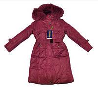 Детское пальто бардовое 134-164