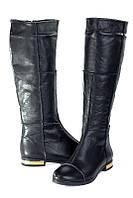 Женские черные сапоги кожаные, зима (на овчине)
