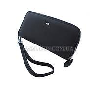 Женский кожаный кошелек ST Leather Accessories на молнии, черный, матовый.