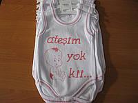 Детские боди-маечки белые  с надписью 1-4 Турция интерлок