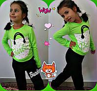 """Детский спортивный костюм для девочек """"Barbie"""" / салатовый с черным"""