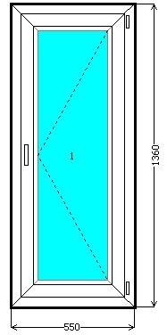 Балконный блок с поворотно-откидной створкой в 3 стекла ( бе.