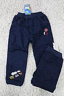 Утепленные котоновые брюки на флисе 1- 2 года
