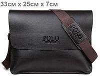 Стильная мужская кожаная сумка POLO (33см х 25 см х 7 см)