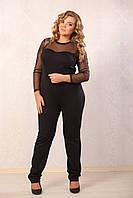 Комбинезон Ницца чёрный, французский трикотаж, рукав сетка, большого размера 48-72, батал
