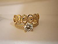 Золотое кольцо с цирконием 585 пробы