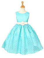 Нарядное платье до колен в горошек на девочку 2-12лет(4 цвета)