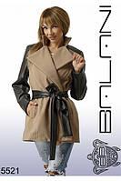 Пальто кашемир+эко кожа женское, доставка по Украине