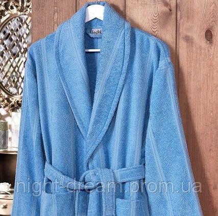 Банный махровый халат  Ladik  Karren v1 голубой XL