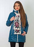 Стеганная молодежная куртка с капюшоном в комплекте с шарфом