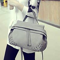 Женская матовая серая сумка