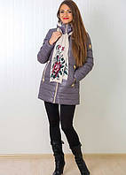 Демисезонная молодежная куртка с шарфом со сьемным капюшоном