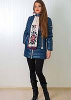 Молодежная женская куртка стеганная с шарфиком в комплекте
