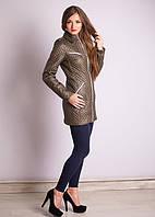 Красивая женская куртка стеганная на молнии с карманами  приталенного кроя