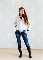 Стильная молодежная куртка стеганная со вставками из резинки на рукавах